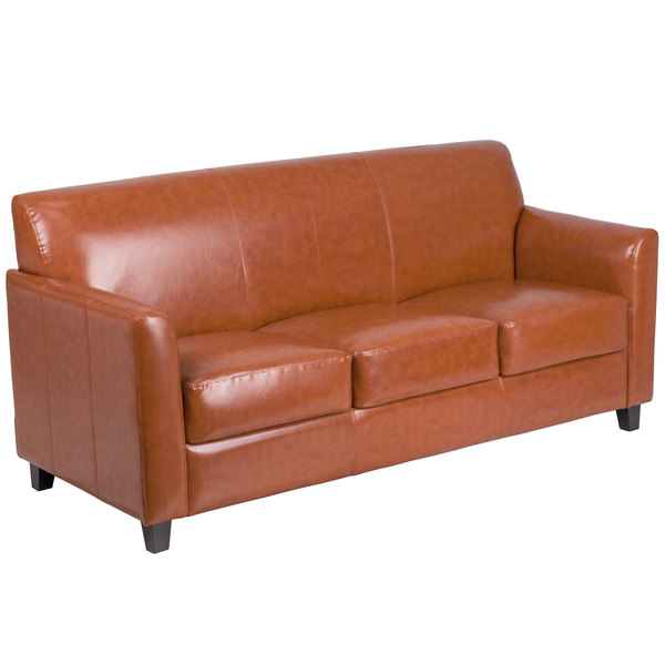 Flash Furniture BT 827 3 CG GG Hercules Diplomat Cognac Leather Sofa With  Wooden Feet