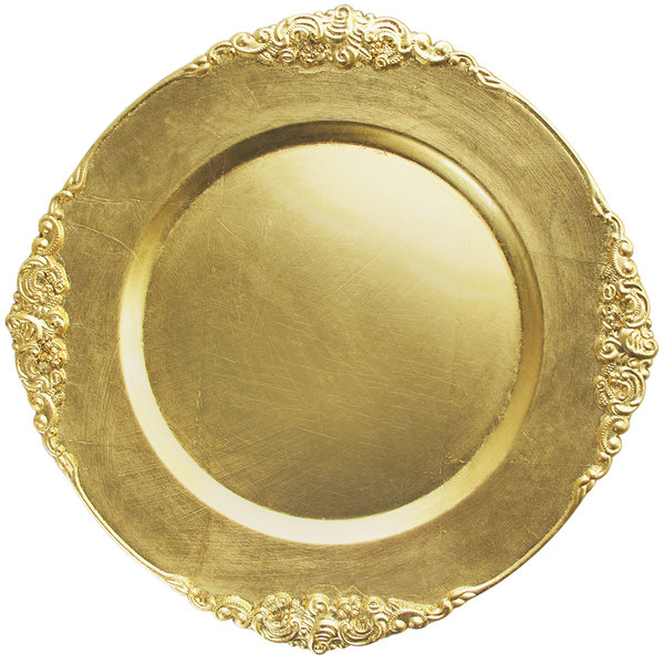 """The Jay Companies 13"""" Round Royal Gold Leaf Embossed Melamine Charger Plate"""