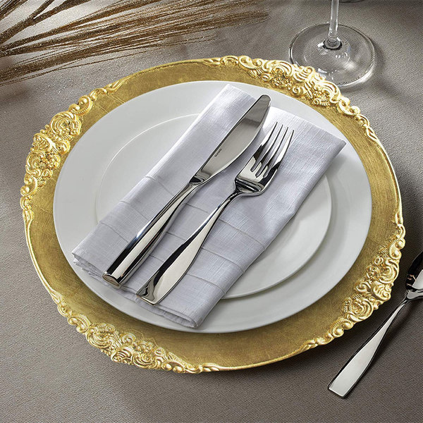 """The Jay Companies 1180256-G-4 13"""" Round Royal Gold Leaf Embossed Plastic Charger Plate"""