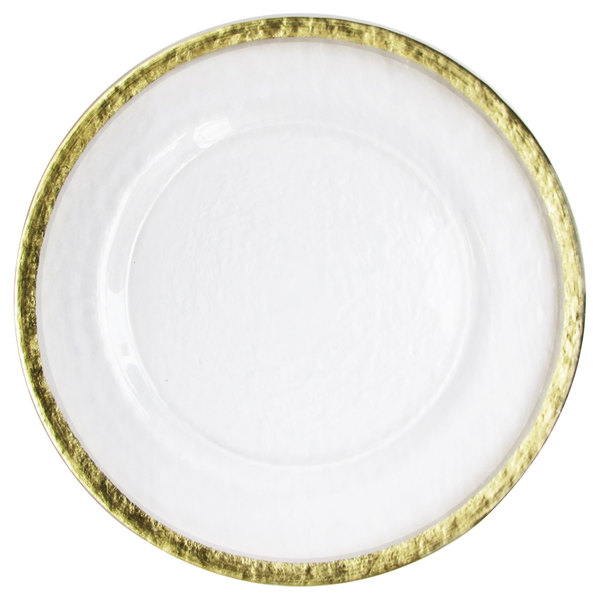 """The Jay Companies 12 5/8"""" Hammered Ice Gold Band Charger Plate"""