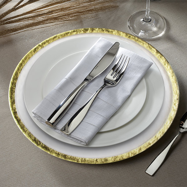 """The Jay Companies 1470401 12 5/8"""" Hammered Ice Gold Band Charger Plate"""