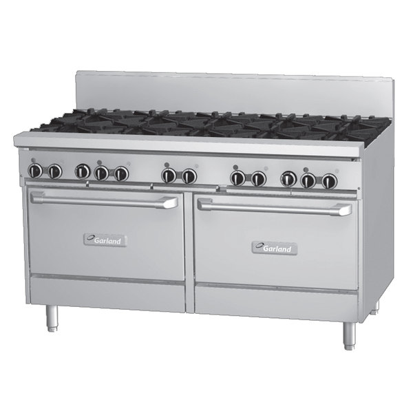 """Garland GFE60-8G12RR Liquid Propane 8 Burner 60"""" Range with Flame Failure Protection and Electric Spark Ignition, 12"""" Griddle, and 2 Standard Ovens - 120V, 302,000 BTU"""