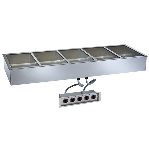"Alto-Shaam 500-HWILF/D4 5 Pan Drop-In Hot Food Well with Independent Controls and Large Flange - 4"" Deep Pans, 120V"
