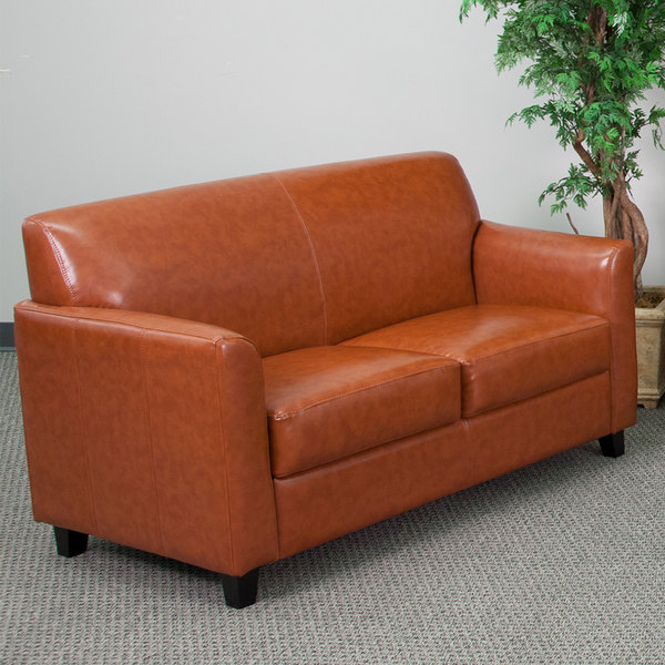 Flash Furniture BT-827-2-CG-GG Hercules Diplomat Cognac Leather Loveseat with Wooden Feet Main Image 4