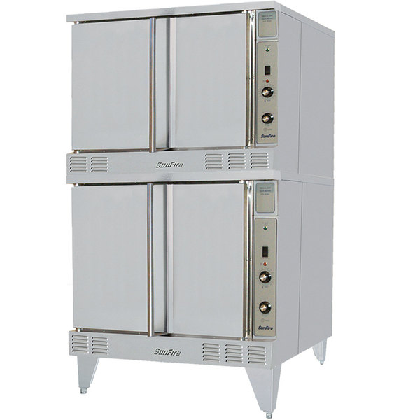 Garland SunFire Series SCO-GS-20S Liquid Propane Double Deck Full Size Gas Convection Oven with 2 Speed Fan and Interior Lights - 106,000 BTU Main Image 1