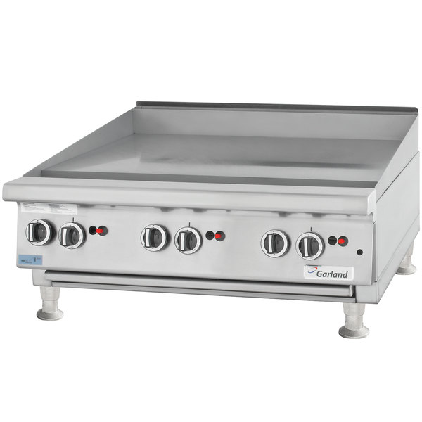 "Garland GTGG72-G72M Liquid Propane 72"" Countertop Griddle with Manual Controls - 162,000 BTU"