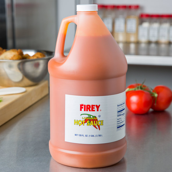 Firey 1 Gallon Louisiana Style Hot Sauce - 4/Case Main Image 2