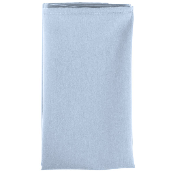20 inch x 20 inch Light Blue Hemmed Polyspun Cloth Napkin - 12/Pack