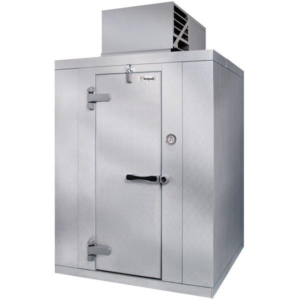 Left Hinged Door Kolpak QSX6-0612-CT Polar Pak 6' x 12' x 6' Floorless Indoor Walk-In Cooler with Top Mounted Refrigeration