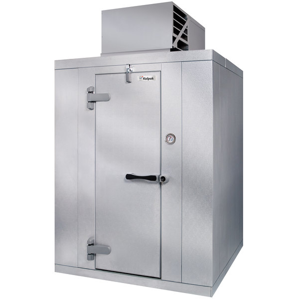Left Hinged Door Kolpak QSX6-0610-CT Polar Pak 6' x 10' x 6' Floorless Indoor Walk-In Cooler with Top Mounted Refrigeration