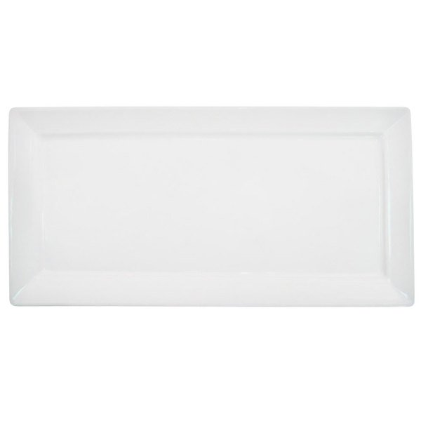 "CAC F-RP10 Paris French 10"" x 5"" Bone White Rectangular Porcelain Platter - 24/Case Main Image 1"