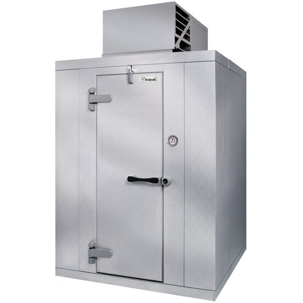 Left Hinged Door Kolpak QSX6-064-CT Polar Pak 6' x 4' x 6' Floorless Indoor Walk-In Cooler with Top Mounted Refrigeration