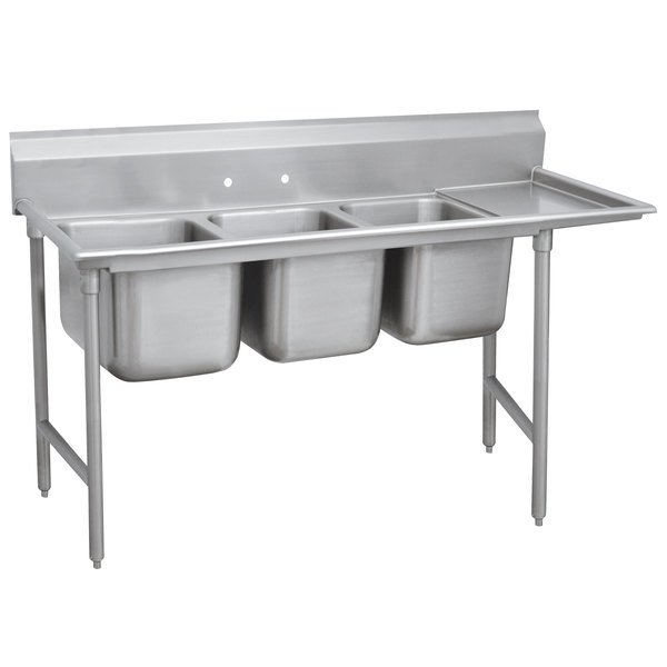 """Right Drainboard Advance Tabco 93-83-60-24 Regaline Three Compartment Stainless Steel Sink with One Drainboard - 95"""""""