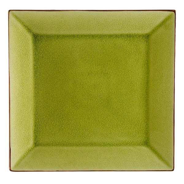 """CAC 6-S16-G Japanese Style 10"""" Square China Plate -Golden Green - 12/Case"""