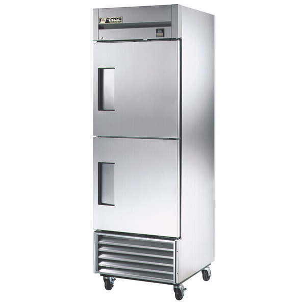 True TS-23F-2 Stainless Steel Single Section Half Door Reach In Freezer with Solid Top and Bottom Doors