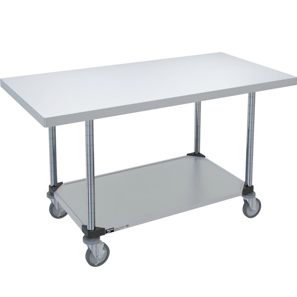 """14 Gauge Metro MWT306FC 30"""" x 60"""" HD Super Stainless Steel Mobile Work Table with Galvanized Undershelf"""