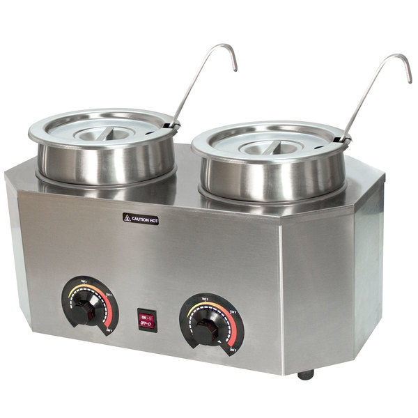 Paragon 2029A Pro-Deluxe Dual 3 Qt. Warmer with 2 Insets, 2 Lids, and 2 Ladles - 120V, 1000W Main Image 1