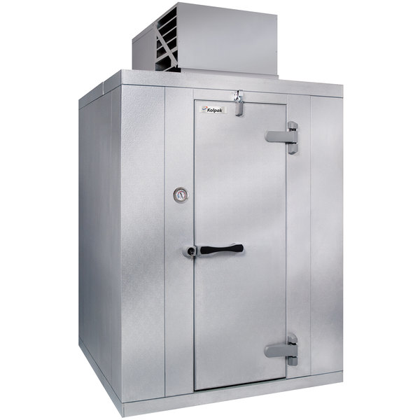Right Hinged Door Kolpak QSX6-086-CT Polar Pak 8' x 6' x 6' Floorless Indoor Walk-In Cooler with Top Mounted Refrigeration
