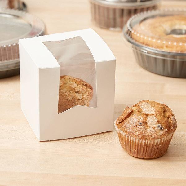 "4 1/2"" x 4 1/2"" x 4 1/2"" White Window Cupcake / Bakery Box - 200/Case"