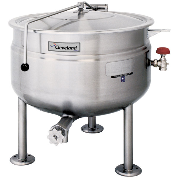 Cleveland KDL-80-SH Short Series 80 Gallon Stationary Full Steam Jacketed Direct Steam Kettle Main Image 1
