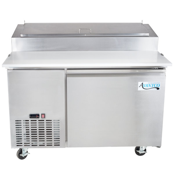 """Avantco PICL1 49"""" One Door Refrigerated Pizza Prep Table"""