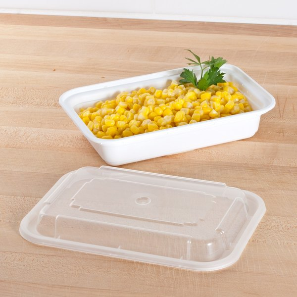 """Pactiv Newspring NC8168 16 oz. White 5"""" x 7 1/4"""" x 1 1/2"""" VERSAtainer Rectangular Microwavable Container with Lid - 150/Case Main Image 5"""