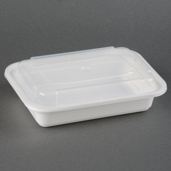 Newspring NC-8168 16 oz. White 5 inch x 7 1/4 inch x 1 1/2 inch VERSAtainer Rectangular Microwavable Container with Lid - 150/Case