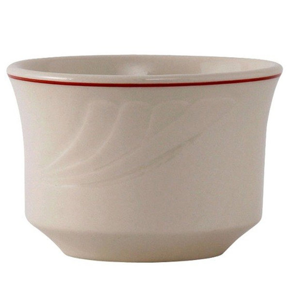 Tuxton YBB-0752 Monterey 7 oz. Eggshell China Bouillon with Berry Band - 36/Case Main Image 1