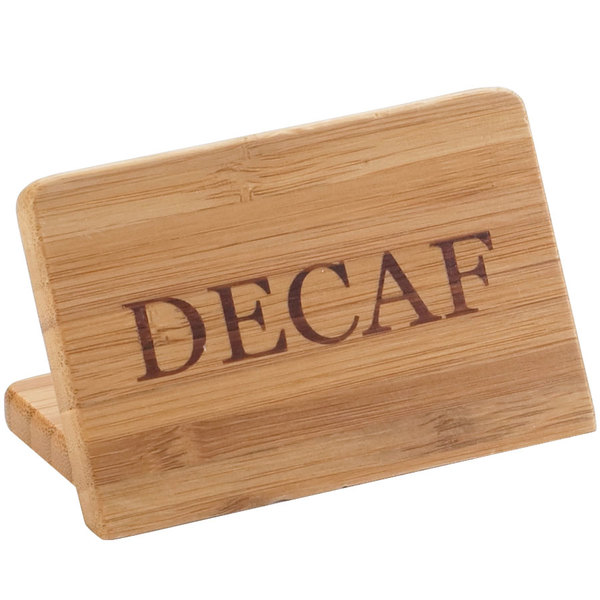"""Cal-Mil 606-2 3"""" x 2"""" Bamboo """"Decaf"""" Beverage Sign"""