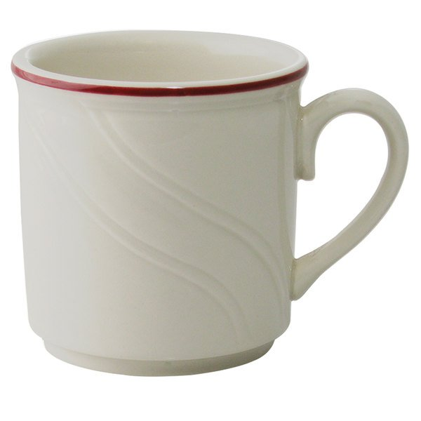 Homer Laughlin 1613619 Lyrica Lydia Maroon 8.25 oz. Off White China Mug - 36/Case