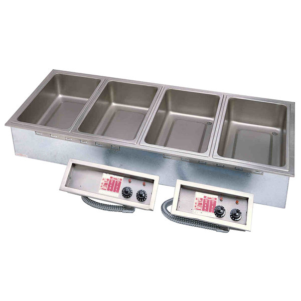 APW Wyott HFW-6D Insulated Six Pan Drop In Hot Food Well with Drain Main Image 1
