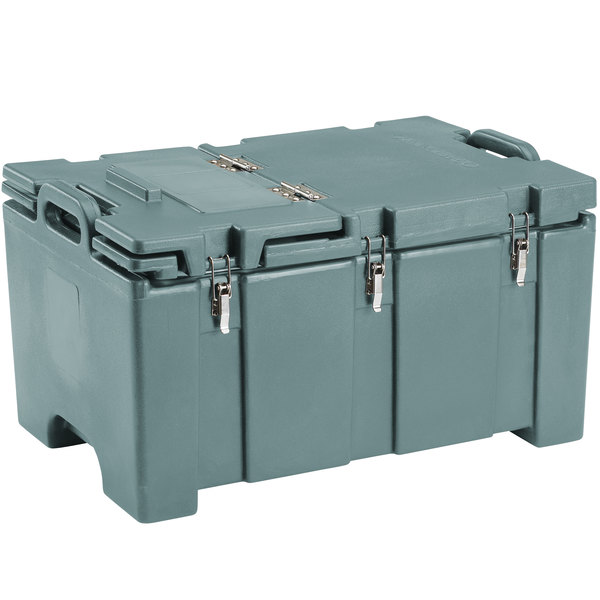 "Cambro 100MPCHL401 Camcarrier Slate Blue Top loading Pan Carrier with Hinged Lid for 12"" x 20"" Food Pans"