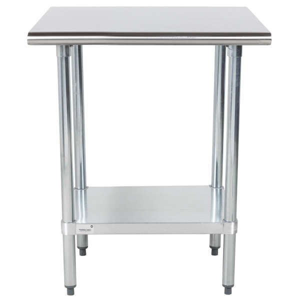"""Advance Tabco GLG-300 30"""" x 30"""" 14 Gauge Stainless Steel Work Table with Galvanized Undershelf"""