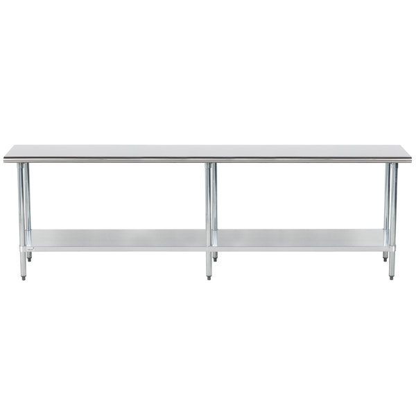 """Advance Tabco GLG-249 24"""" x 108"""" 14 Gauge Stainless Steel Work Table with Galvanized Undershelf"""