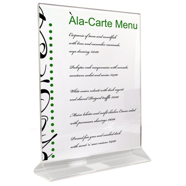 """8 1/2"""" x 11"""" Clear Acrylic Tabletop Displayette"""