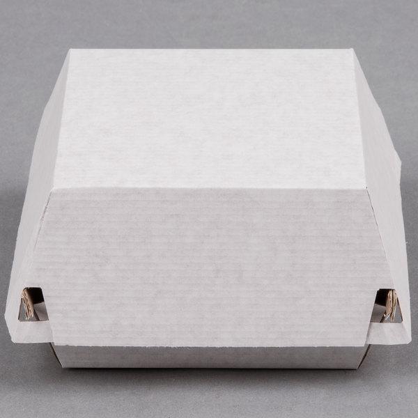 "LBP 55000 5"" x 4 5/8"" x 3"" Corrugated Clamshell Hamburger Take-Out Box - 400/Case Main Image 1"