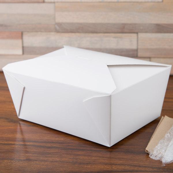 "Bio-Pak 04BPWHITEM 8"" x 6"" x 3 1/2"" White Microwavable Paper #4 Take-Out Container - 160/Case"