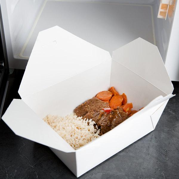 "Bio-Pak 04BPWHITEM 8"" x 6"" x 3 1/2"" White Microwavable Paper #4 Take-Out Container - 160/Case Main Image 5"