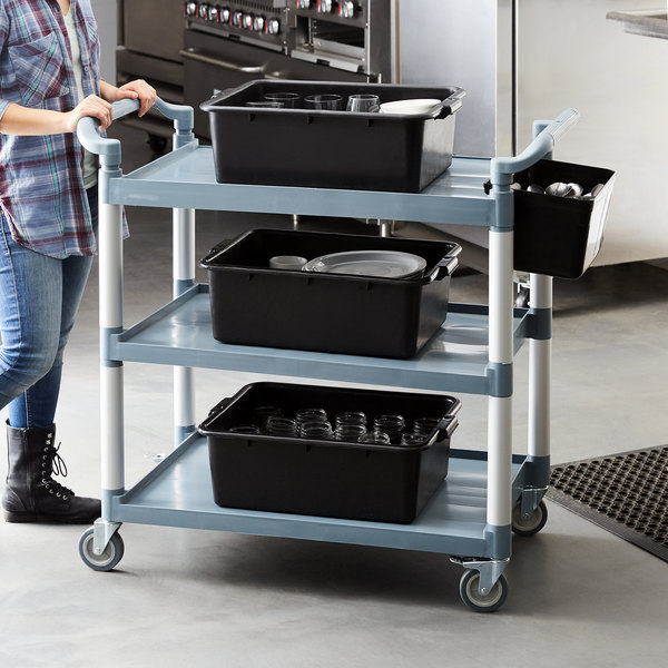 """Choice Gray Utility / Bussing Cart with Three Shelves- 42"""" x 20"""" Main Image 3"""