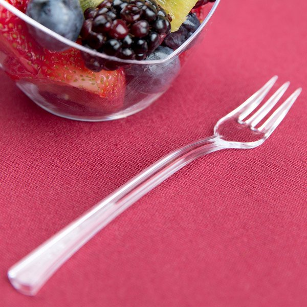"Fineline Tiny Temptations 6500-CL 3 7/8"" Tiny Tines Clear Plastic Tasting Fork - 960/Case"