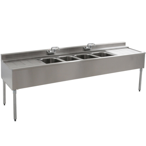 """Eagle Group B8C-4-22 Underbar Sink with Four Compartments, Two Drainboards, and Two Faucets - 96"""""""
