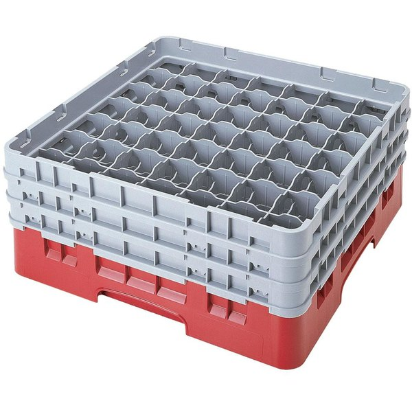 "Cambro 49S1114163 Red Camrack Customizable 49 Compartment 11 3/4"" Glass Rack Main Image 1"
