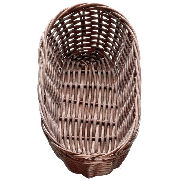 "Tablecraft 1417 9"" x 3 1/2"" x 2"" Brown Oblong Rattan Basket - 12/Pack"