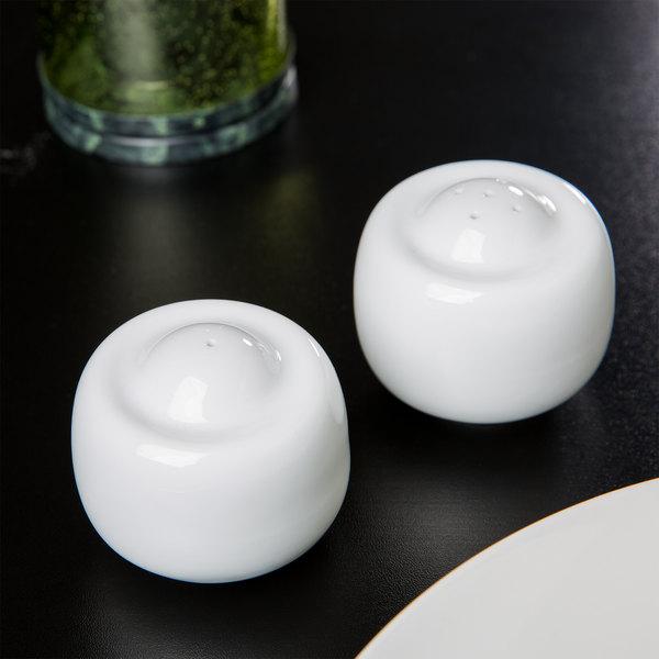 10 Strawberry Street TAV-30 Taverno White Porcelain Salt and Pepper Set - 18/Case