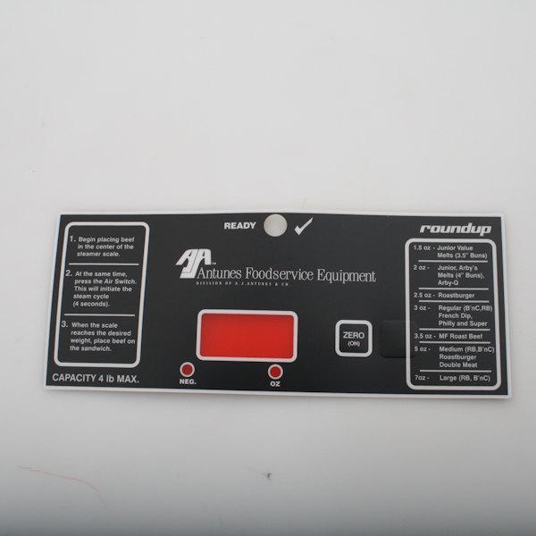 Antunes 1001140 Control Panel Label