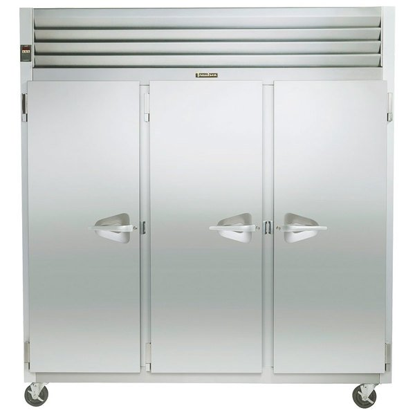 "Traulsen G31011 77"" G Series Three Section Solid Door Reach-In Freezer with Left / Left / Right Hinged Doors - 69 cu. ft."