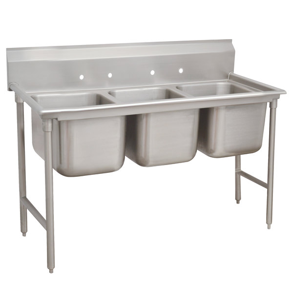 """Advance Tabco 93-43-72 Regaline Three Compartment Stainless Steel Sink - 86"""""""