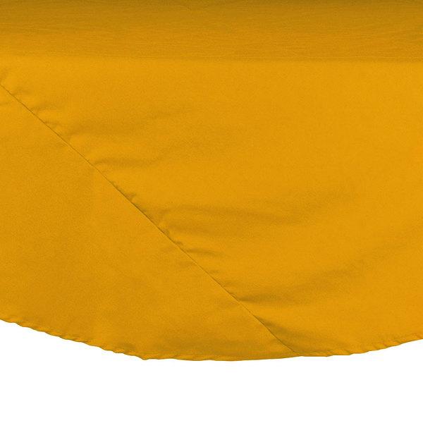 "90"" Gold Round Hemmed Polyspun Cloth Table Cover"