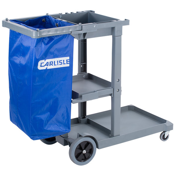 Carlisle JC1945S23 Gray Janitor Cart Main Image 1