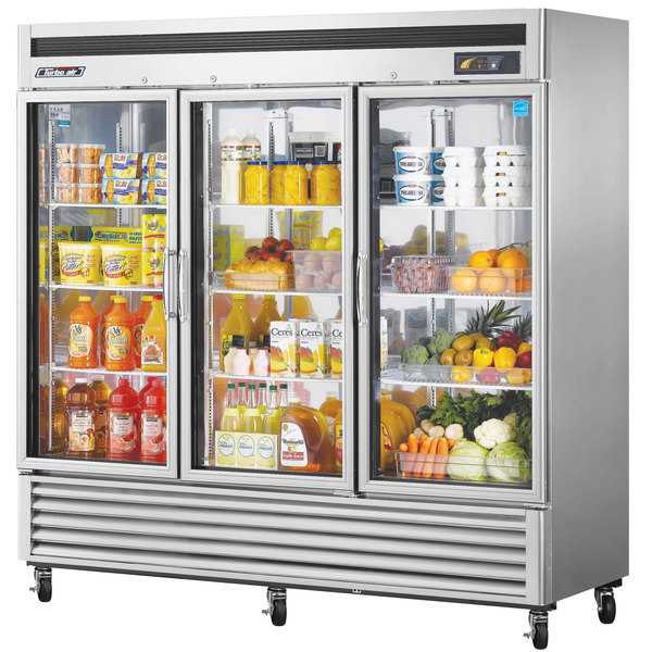 """Turbo Air TSR-72GSD-N Super Deluxe 82"""" Glass Door Reach In Refrigerator Main Image 1"""